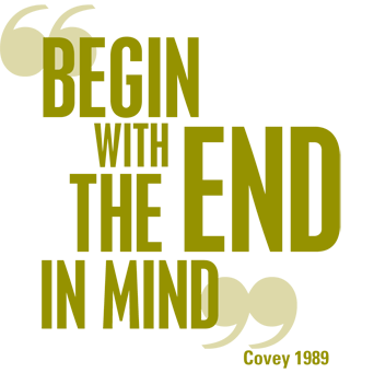 Habit #2 from Stephen Covey's book Seven Habits of Highly Effective People: Begin with the end in mind
